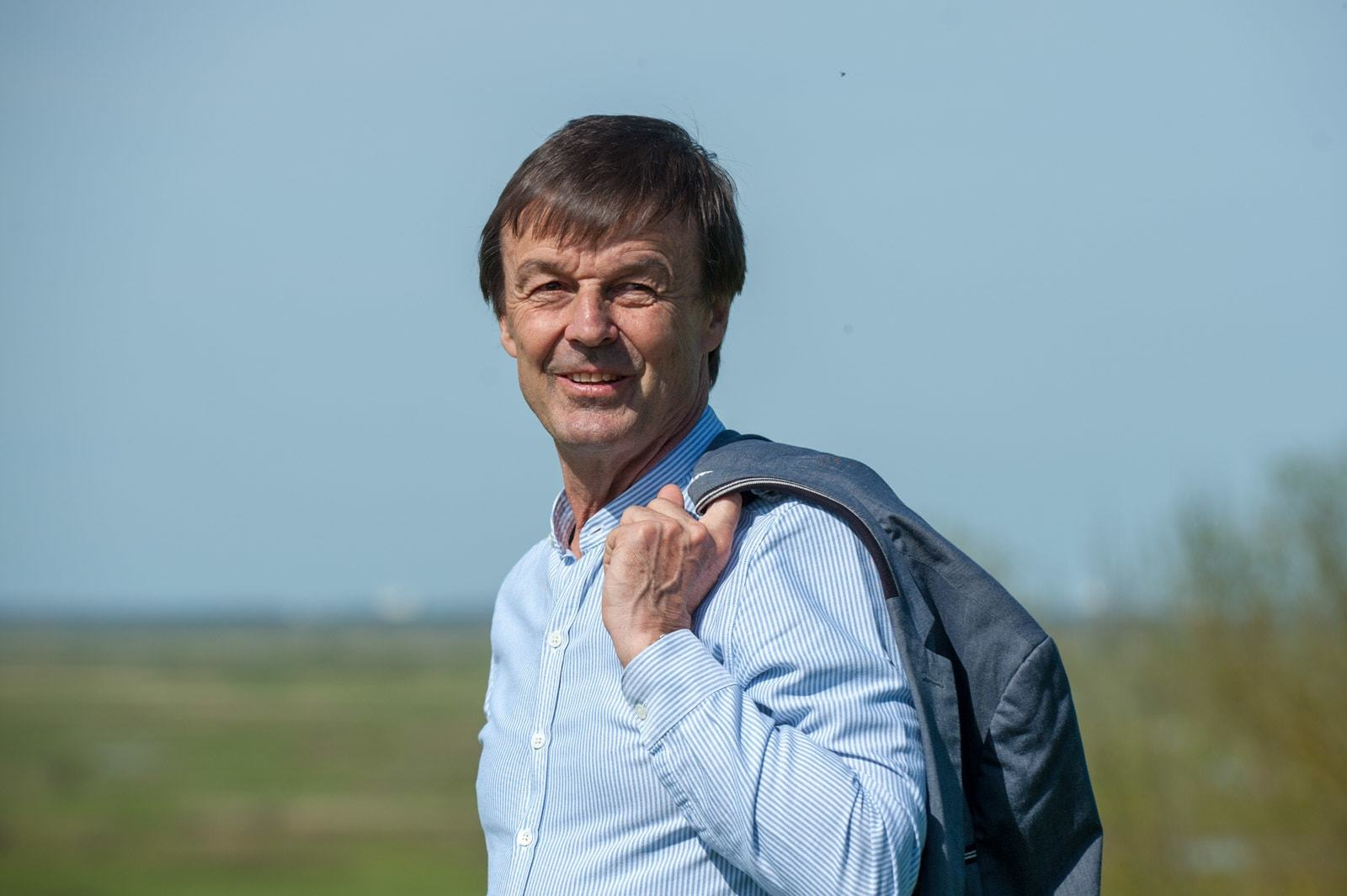 Nicolas Hulot, the french minister to the ecological transition discovers the Broue Tower with the rehabilitation of the old swamps,  at Saint Sornin, on 06 april 2018. photo by Arnault SERRIERE / ABACAPRESS